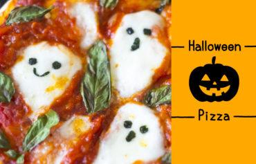 ハロウィン仕様のピザ