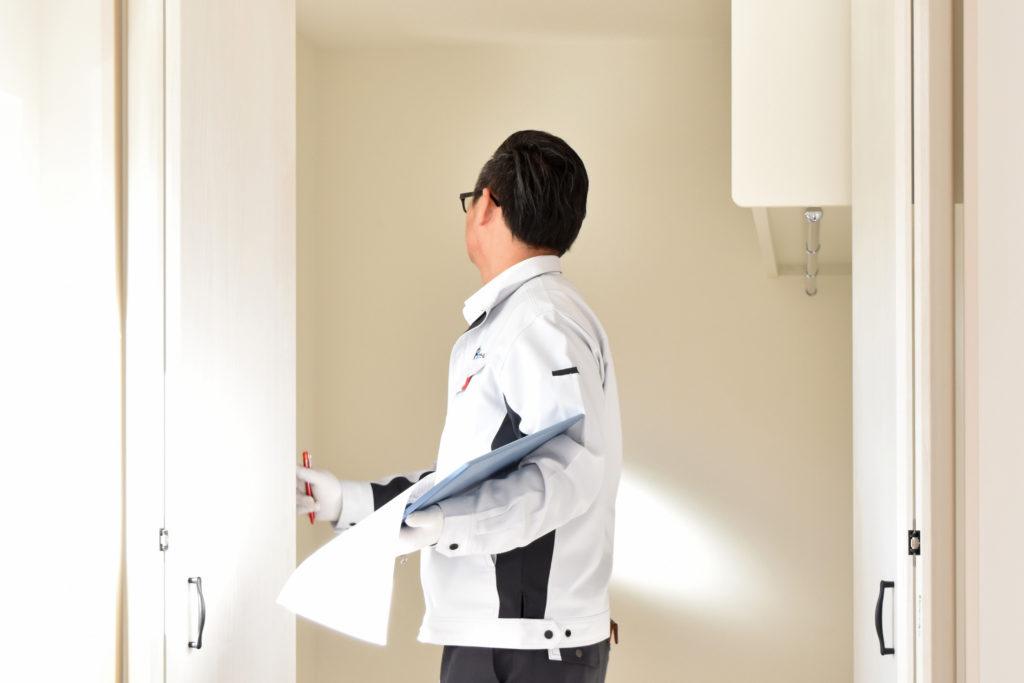 2020年1月9日社内検査にて寝室のウォークインクローゼットを検査している様子