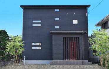 赤い玄関扉と玄関ポーチの化粧柱がアクセントの二世帯住宅