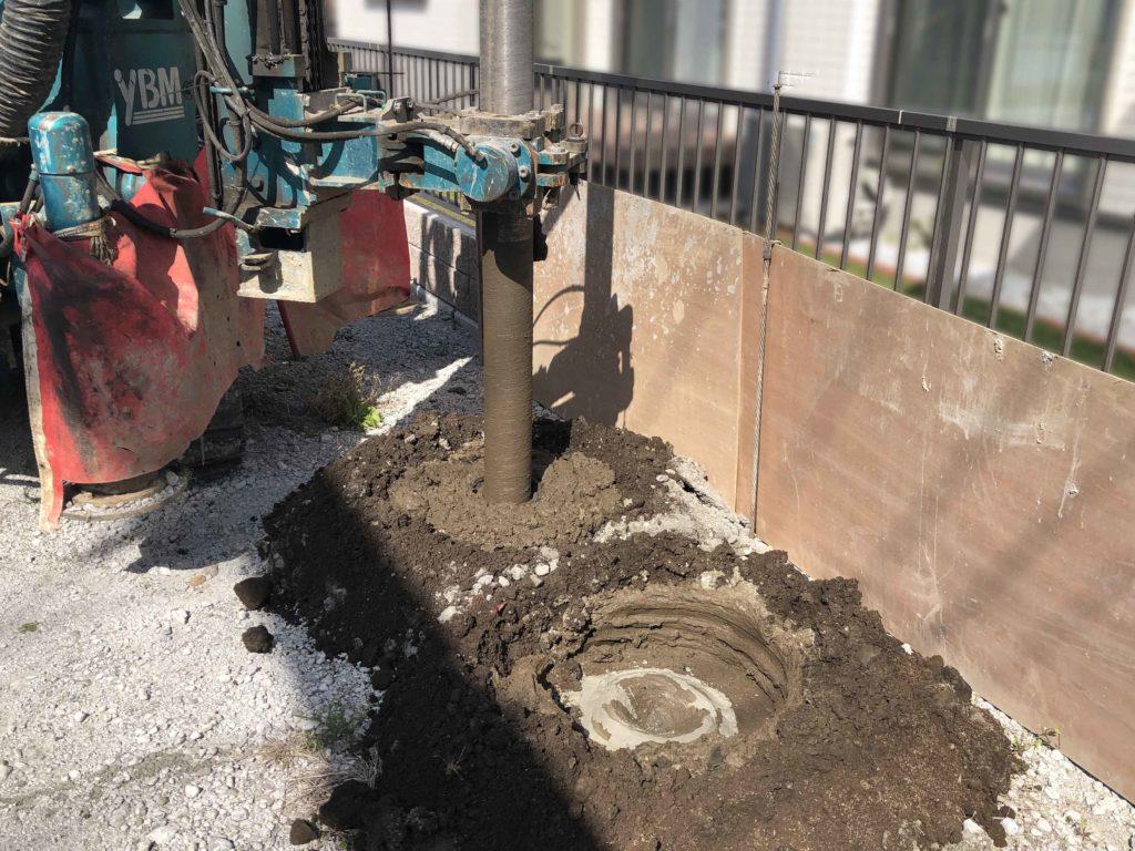長伏第2展示場の新築工事において、2020年3月21日に地盤改良を行っている様子