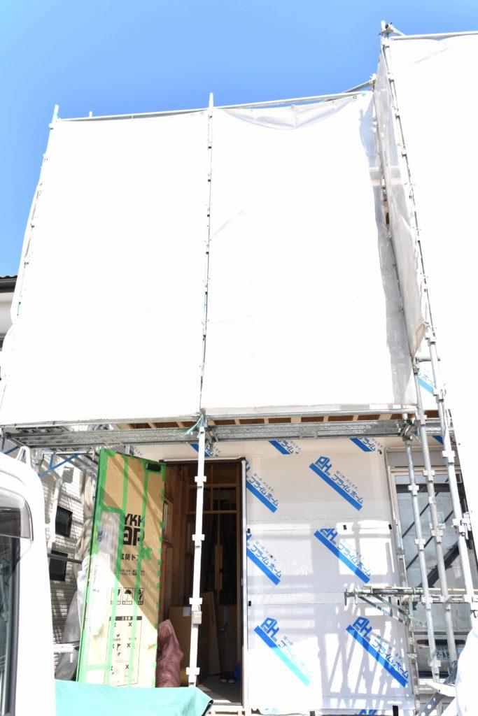2020年3月12日実施の現場廻り3件目、建築中の外観