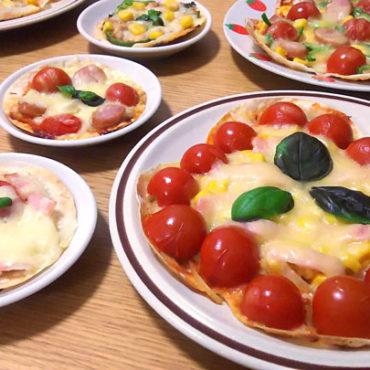 餃子の皮を使ったぱりぱり手作りピザ_バジルのせのトマトピザ