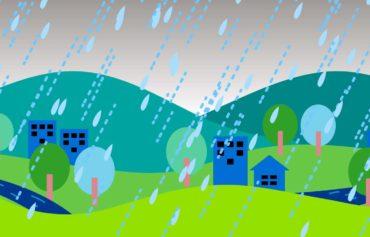 大雨のイラスト。