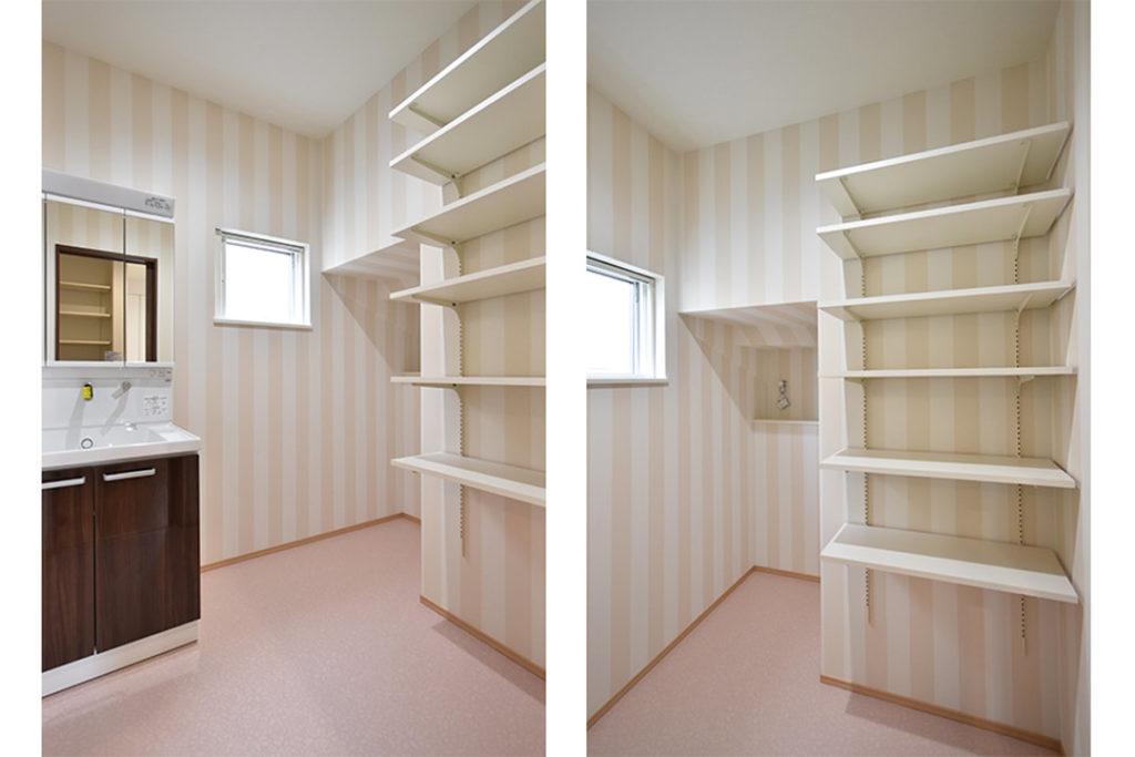 2020年11月6日社内検査_階段下空間を活用した、収納力のある洗面脱衣室
