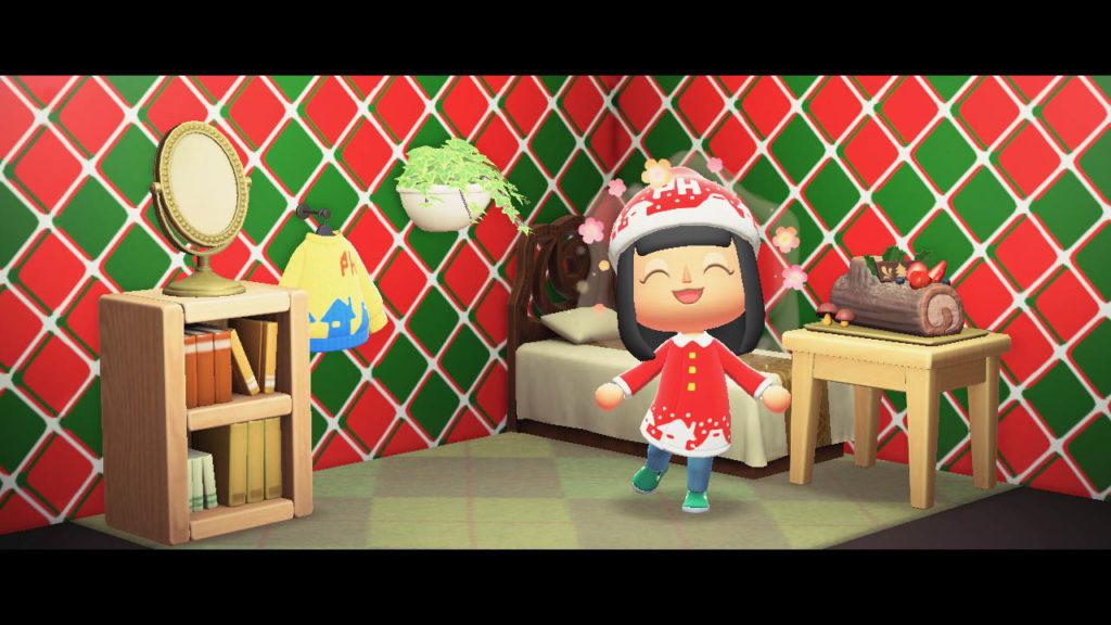 あつまれどうぶつの森_マイデザイン_ぷらいおんのクリスマスコート&ぼうしを着用して記念撮影