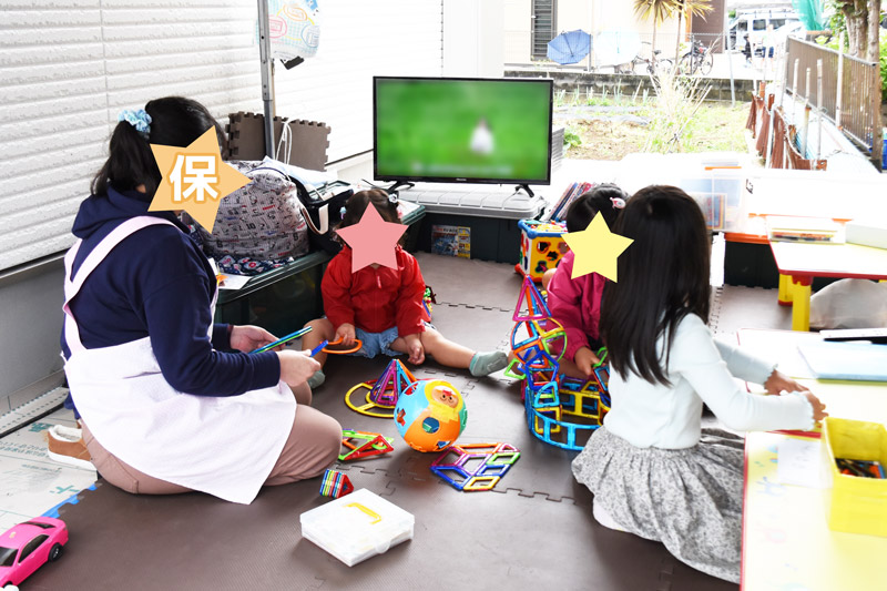 2021年5月22日・23日の完成見学会でのキッズルームで遊ぶ子供達