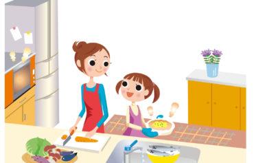 キッチンでお母さんの料理の手伝いをする女の子のイラスト
