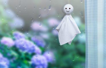 梅雨の雨降り_てるてる坊主とアジサイ